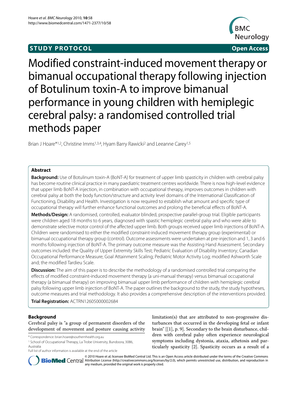 Modified constraint-induced movement therapy or bimanual