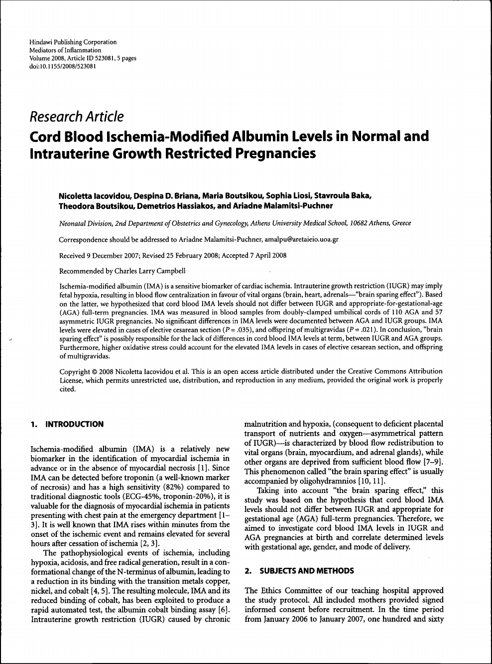 Cord Blood Ischemia-Modified Albumin Levels in Normal and