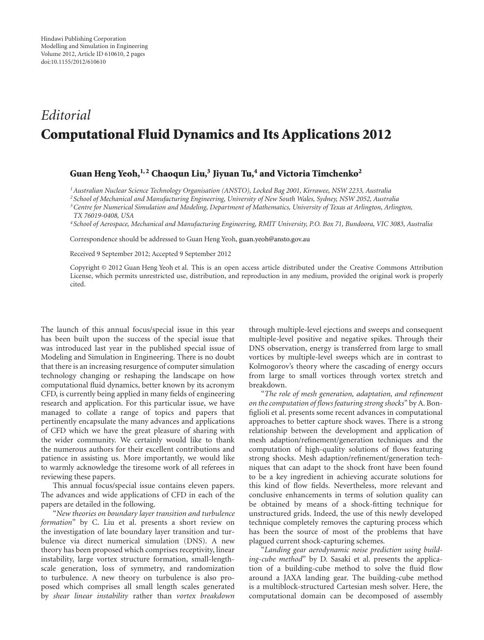 Computational Fluid Dynamics and Its Applications 2012 – topic of