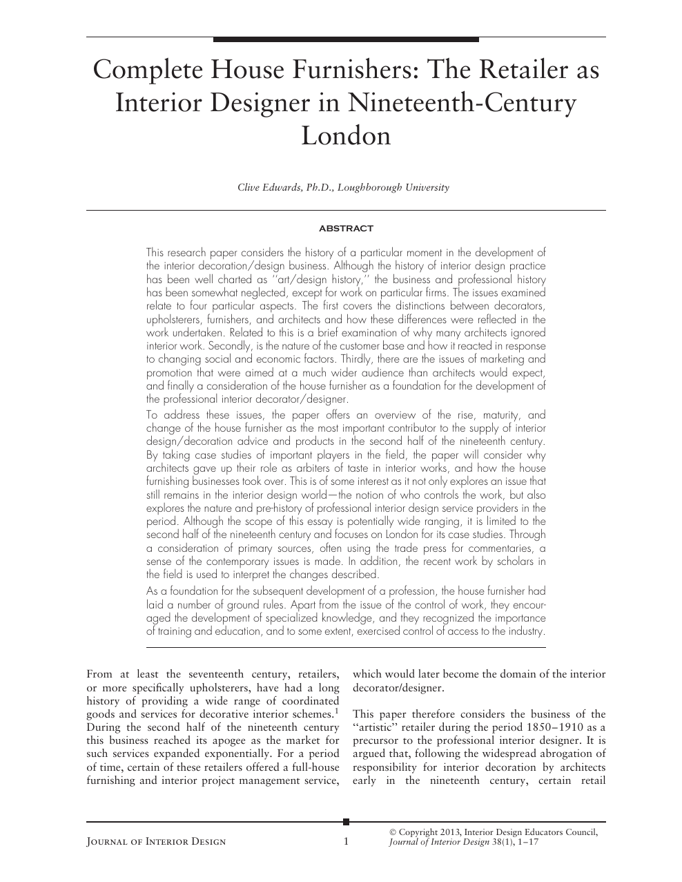 journal of interior design research
