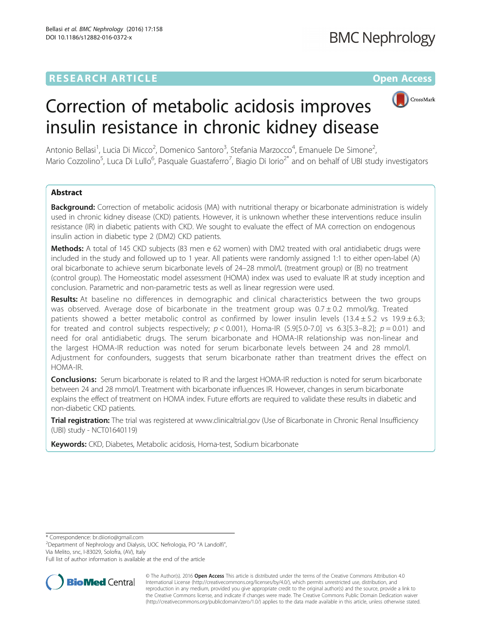 Correction Of Metabolic Acidosis Improves Insulin Resistance In Chronic Kidney Disease Topic Of Research Paper In Clinical Medicine Download Scholarly Article Pdf And Read For Free On Cyberleninka Open Science Hub