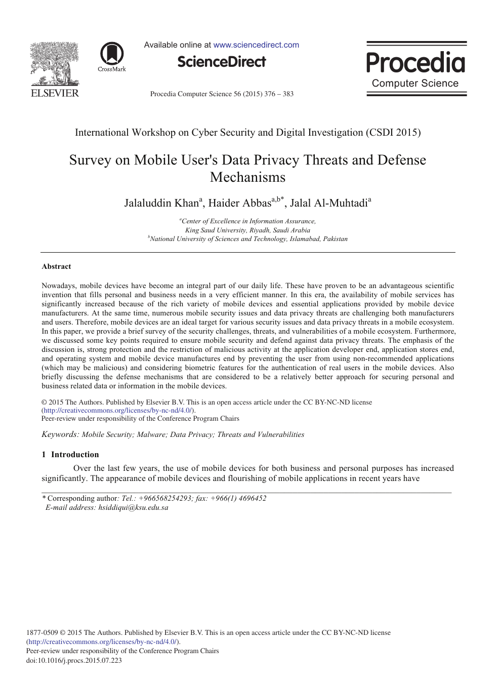 Survey on Mobile User's Data Privacy Threats and Defense Mechanisms