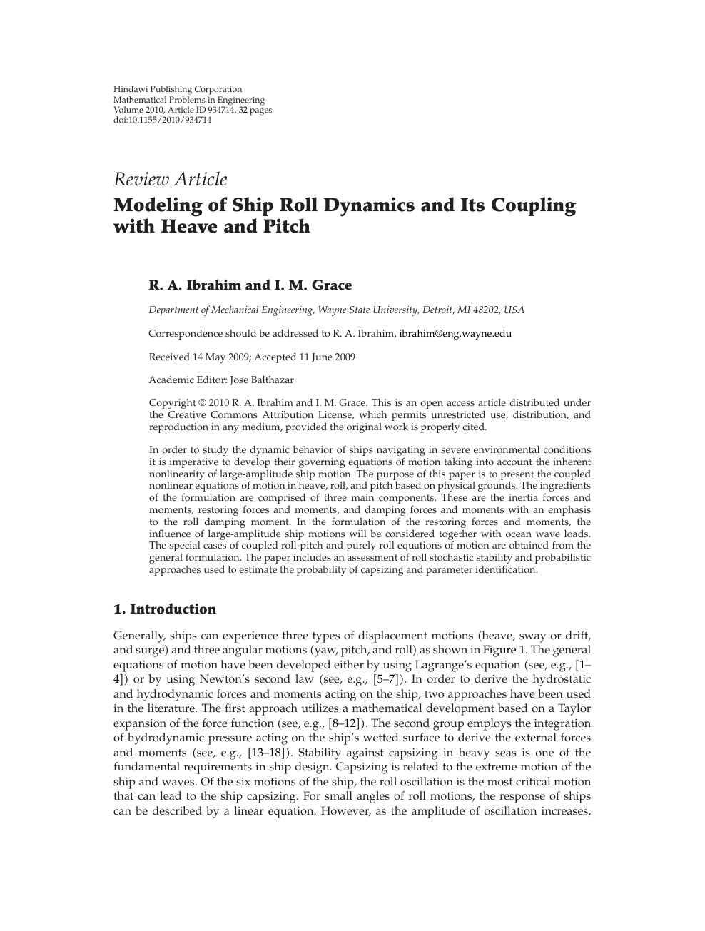 Modeling of Ship Roll Dynamics and Its Coupling with Heave