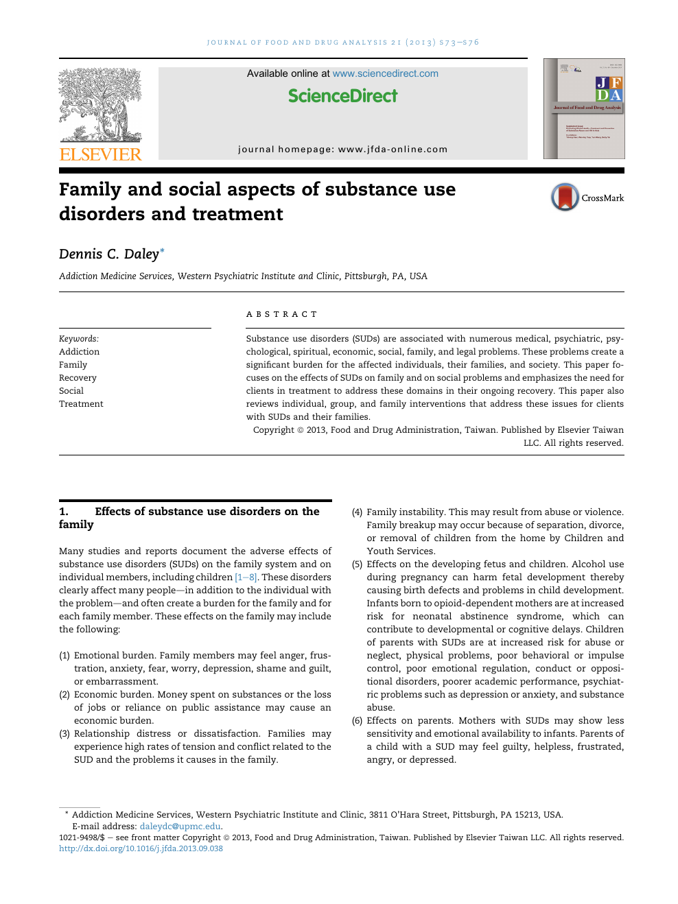 Family and social aspects of substance use disorders and