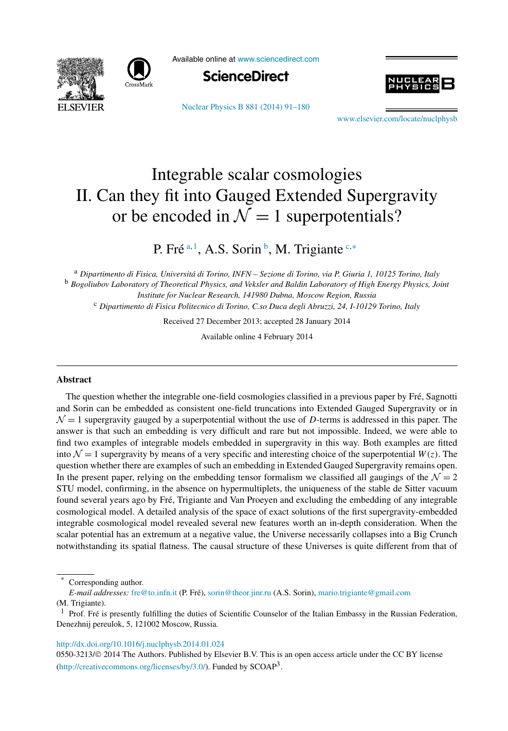 Integrable scalar cosmologies – topic of research paper in Physical