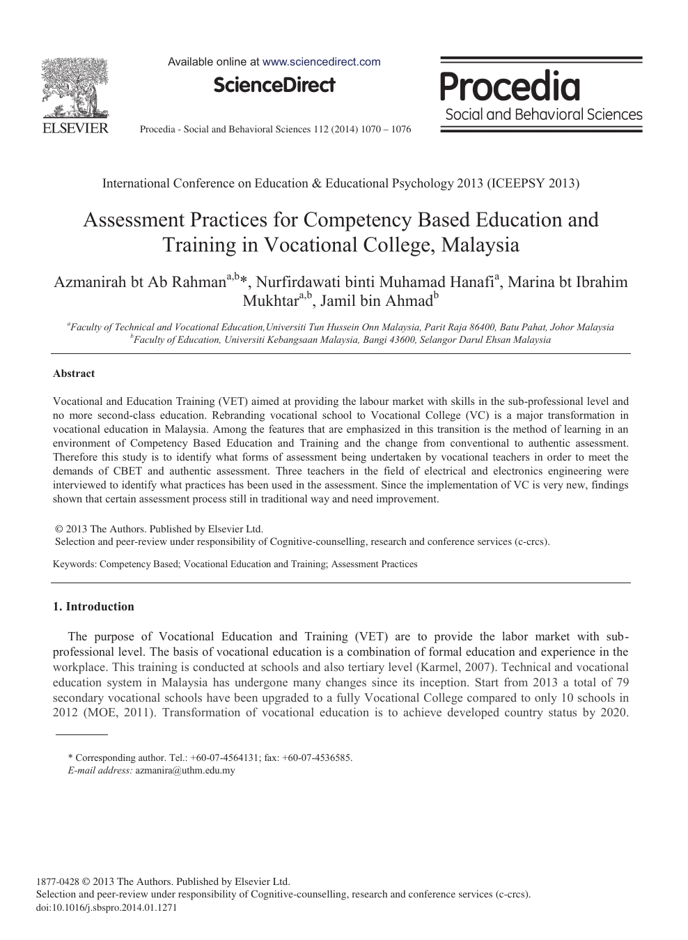 Assessment Practices for Competency based Education and Training in