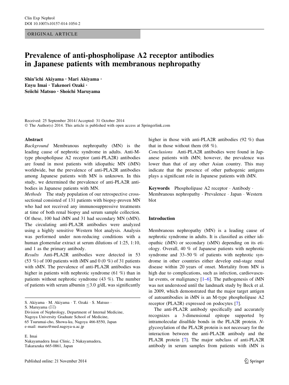 Prevalence of anti-phospholipase A2 receptor antibodies in Japanese