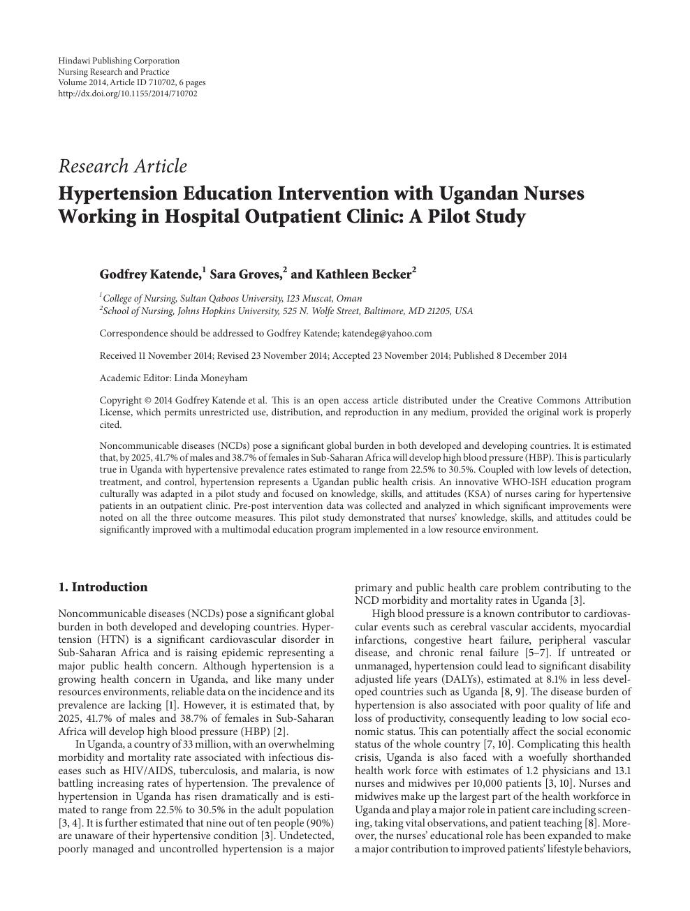 Hypertension Education Intervention with Ugandan Nurses Working in