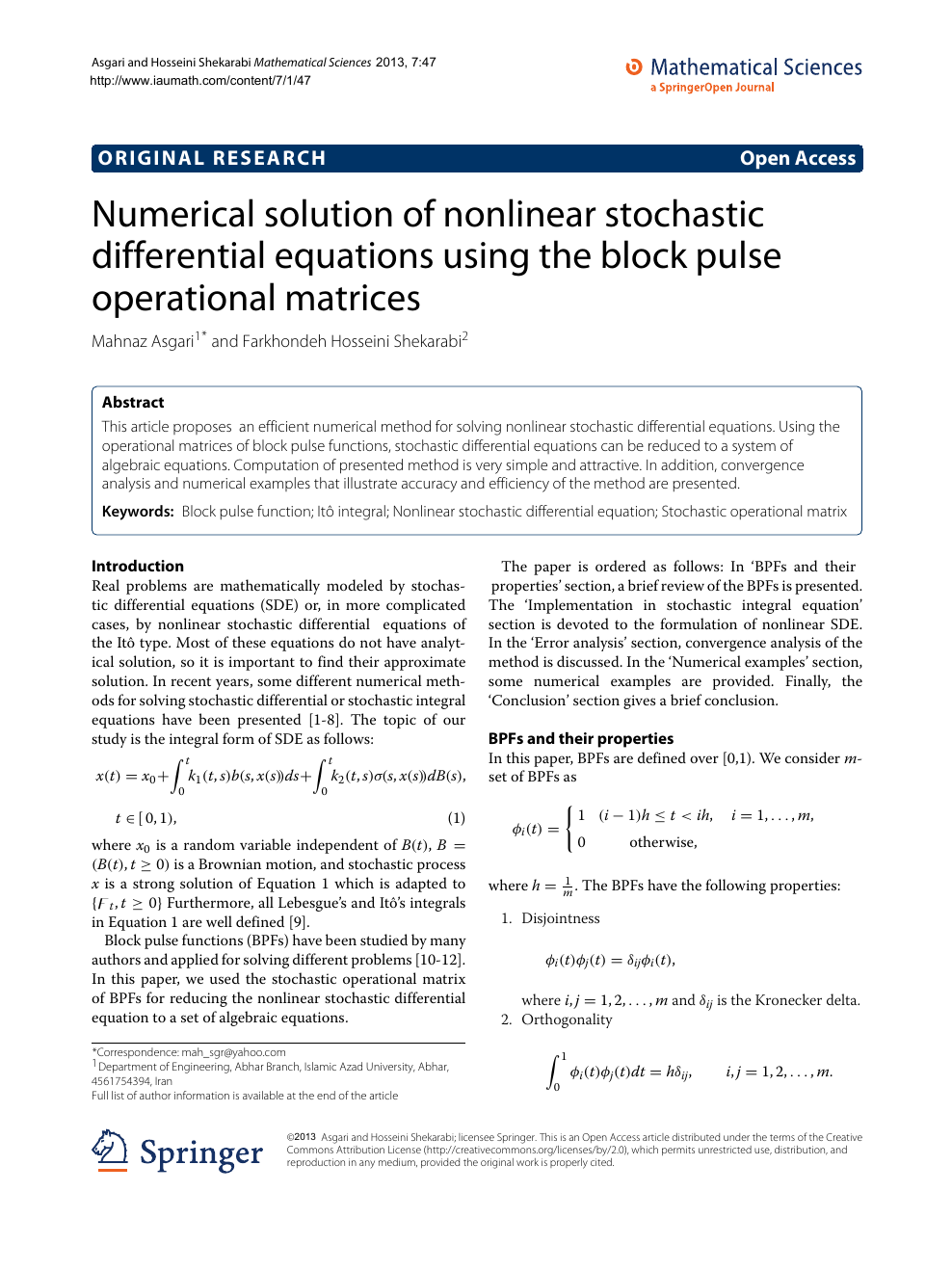 Numerical solution of nonlinear stochastic differential