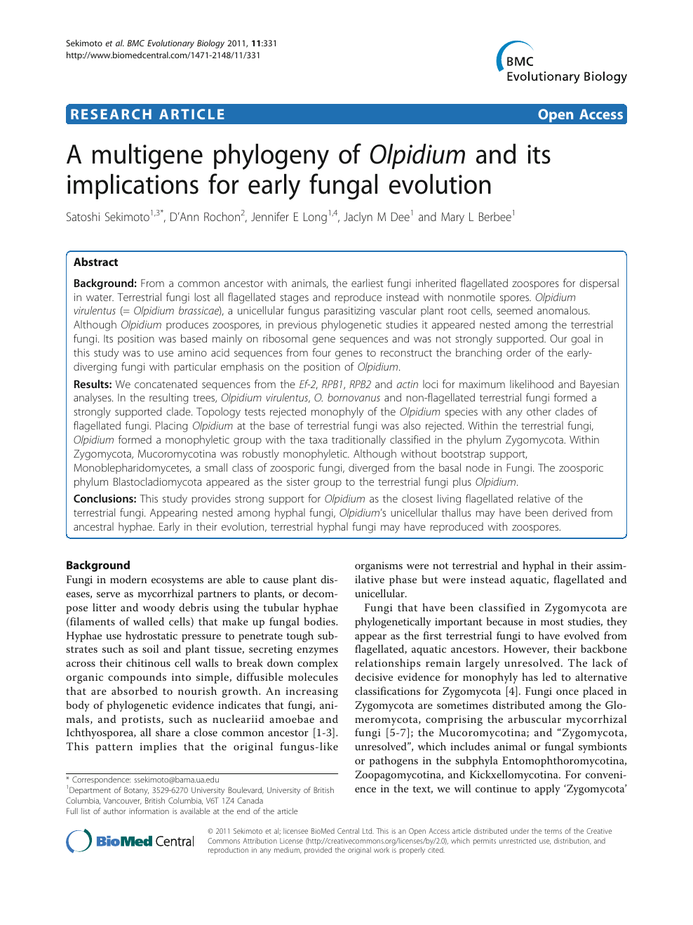 A multigene phylogeny of Olpidium and its implications for