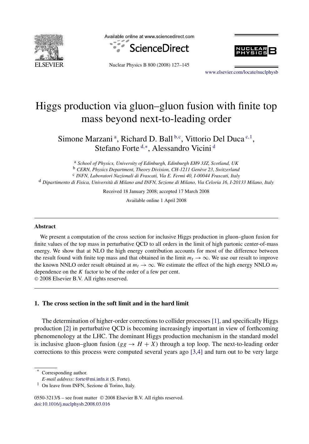 Higgs production via gluon–gluon fusion with finite top mass
