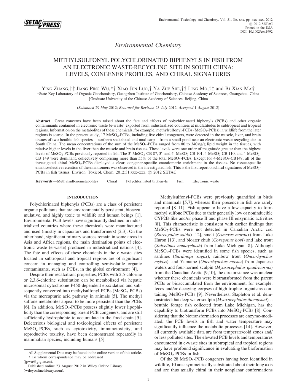 environmental chemistry paper topics