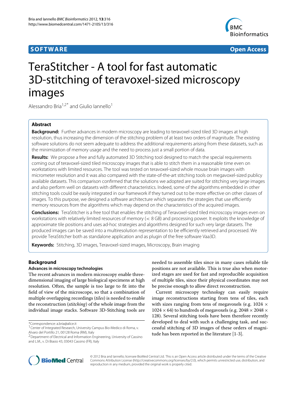 TeraStitcher - A tool for fast automatic 3D-stitching of teravoxel