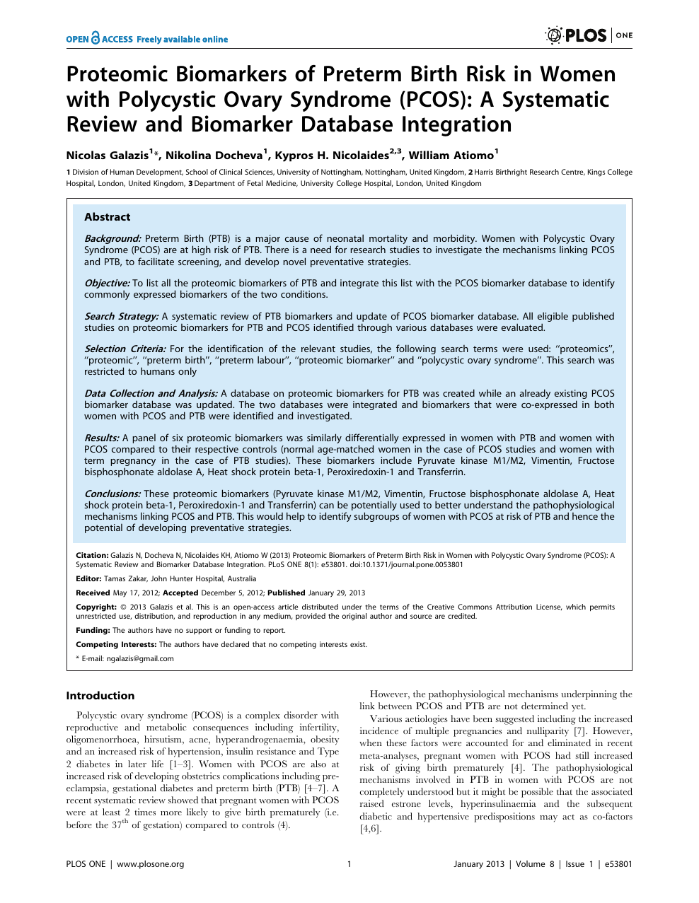 Proteomic Biomarkers of Preterm Birth Risk in Women with Polycystic Ovary  Syndrome (PCOS): A Systematic Review and Biomarker Database Integration –  topic of research paper in Clinical medicine. Download scholarly article PDF