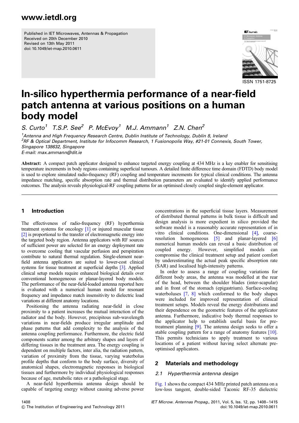 In Silico Hyperthermia Performance Of A Near Field Patch Antenna At Various Positions On A Human Body Model Topic Of Research Paper In Medical Engineering Download Scholarly Article Pdf And Read For Free