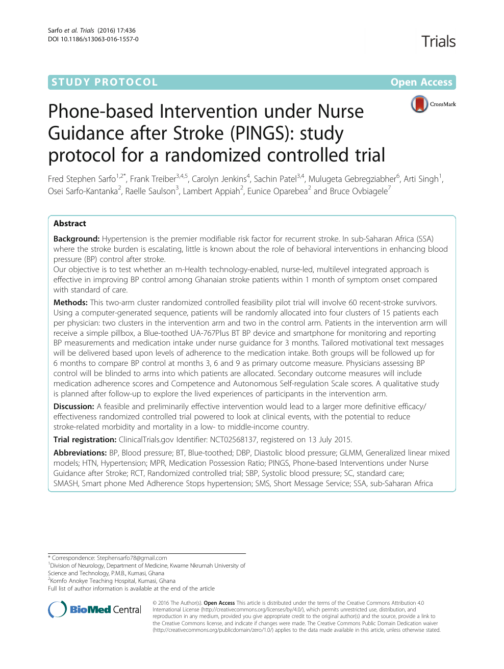 Phone-based Intervention under Nurse Guidance after Stroke