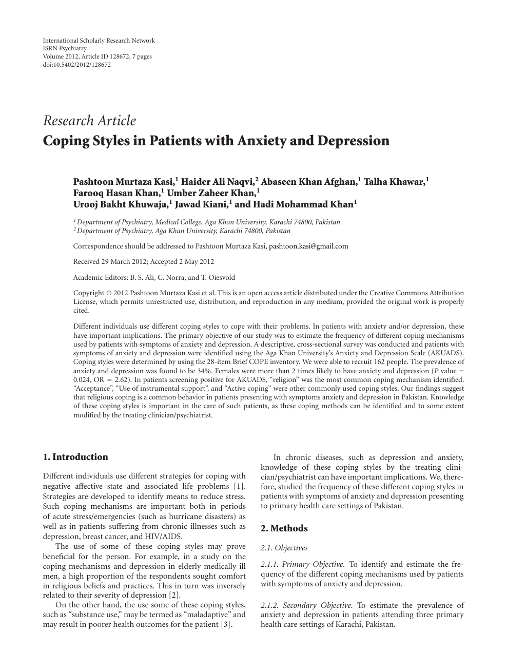 Coping Styles in Patients with Anxiety and Depression