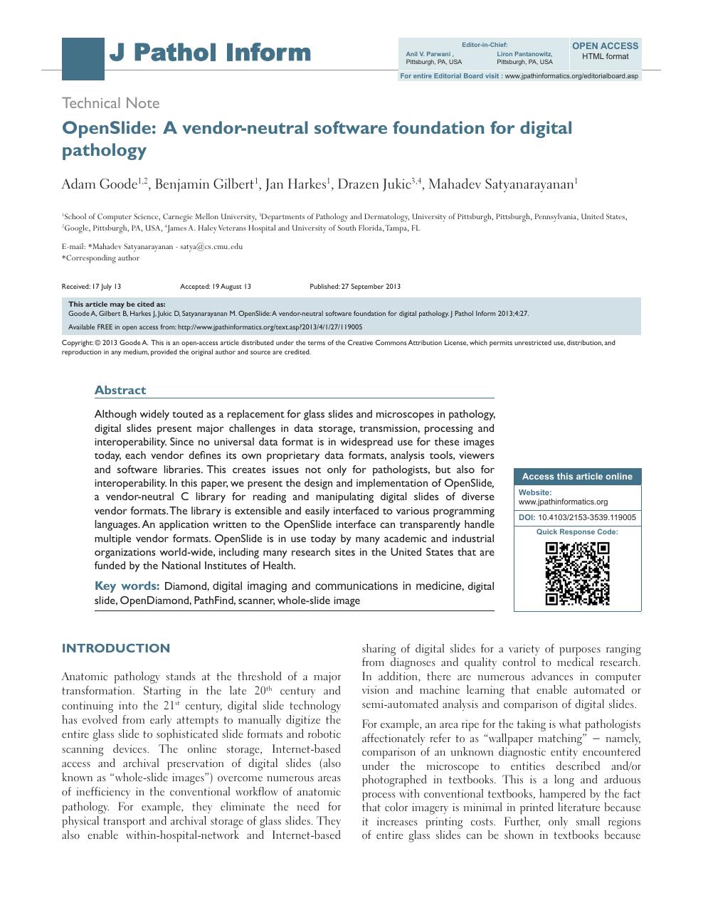 OpenSlide: A vendor-neutral software foundation for digital