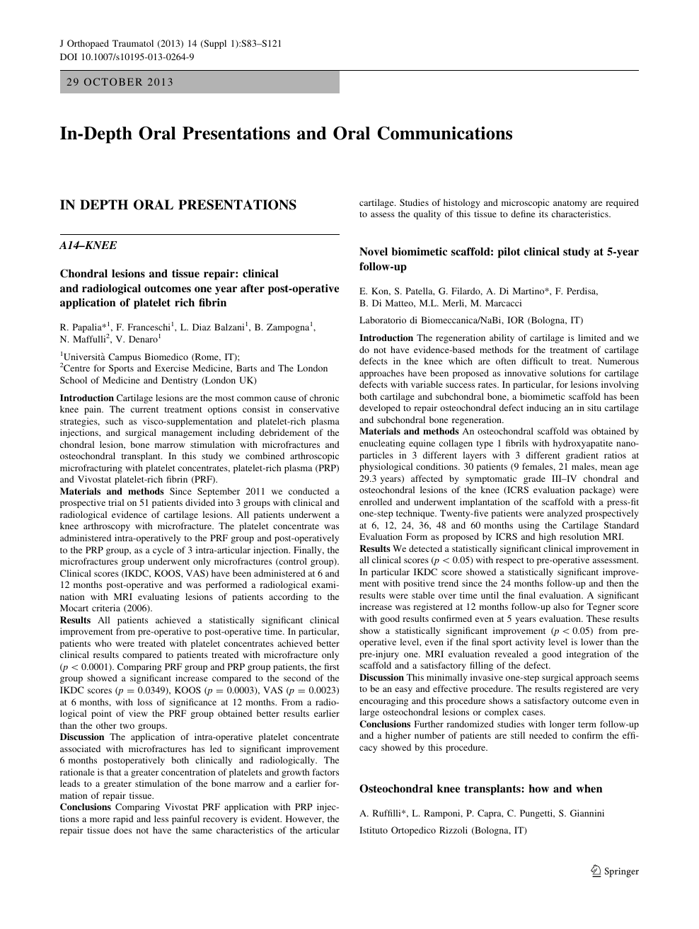 In-Depth Oral Presentations and Oral Communications – topic