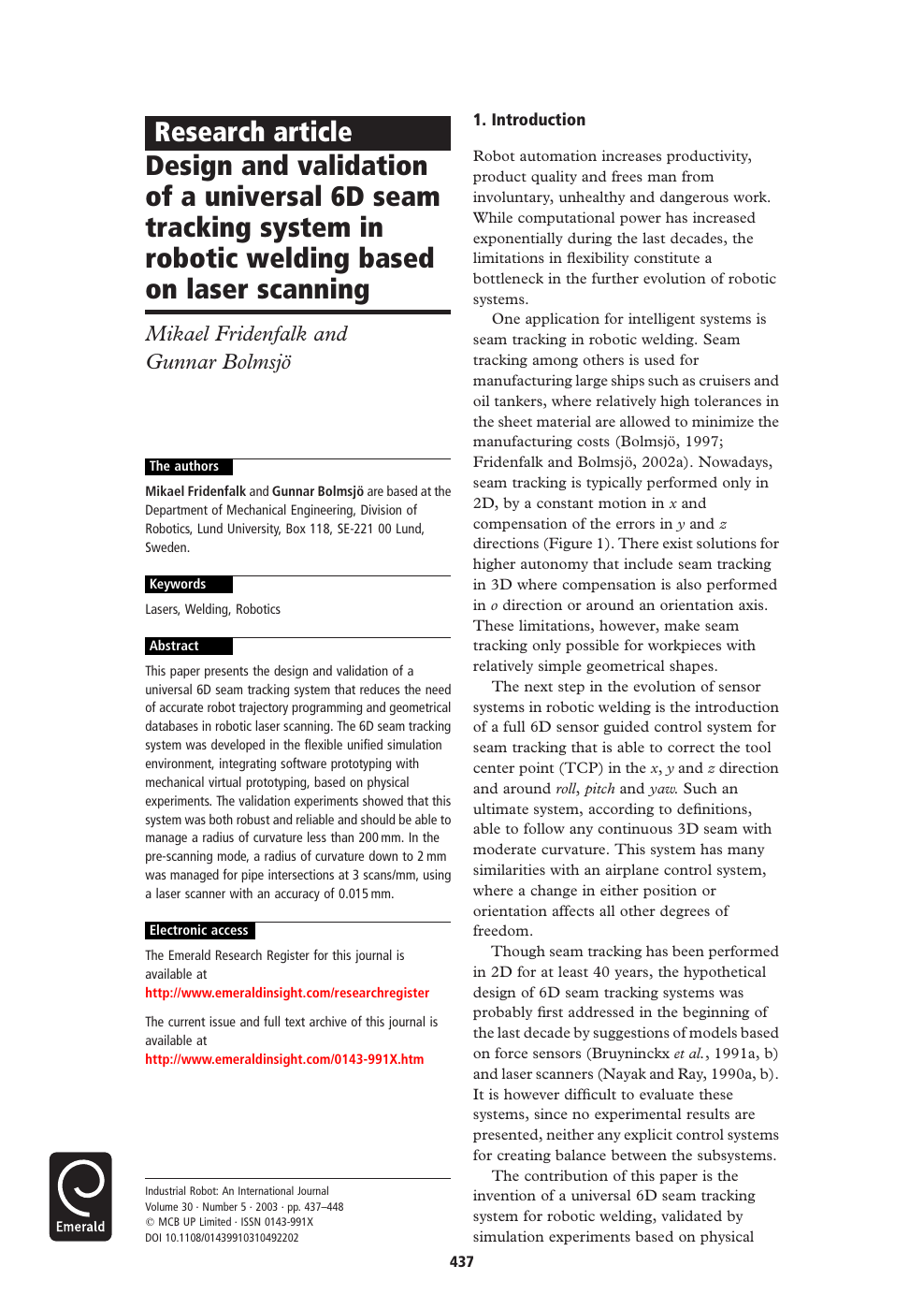 Design and validation of a universal 6D seam tracking system