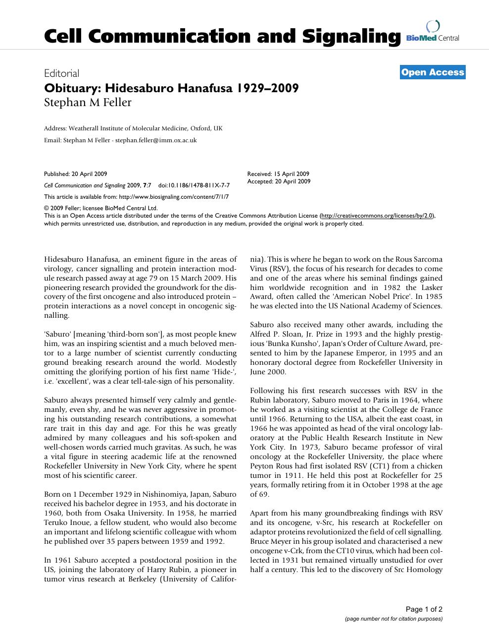 Obituary: Hidesaburo Hanafusa 1929–2009 – topic of research