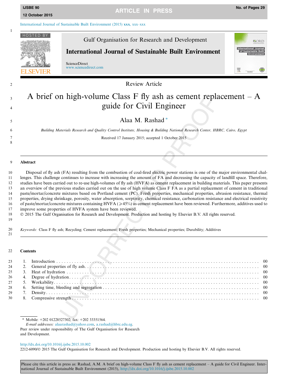 A brief on high-volume Class F fly ash as cement replacement – A