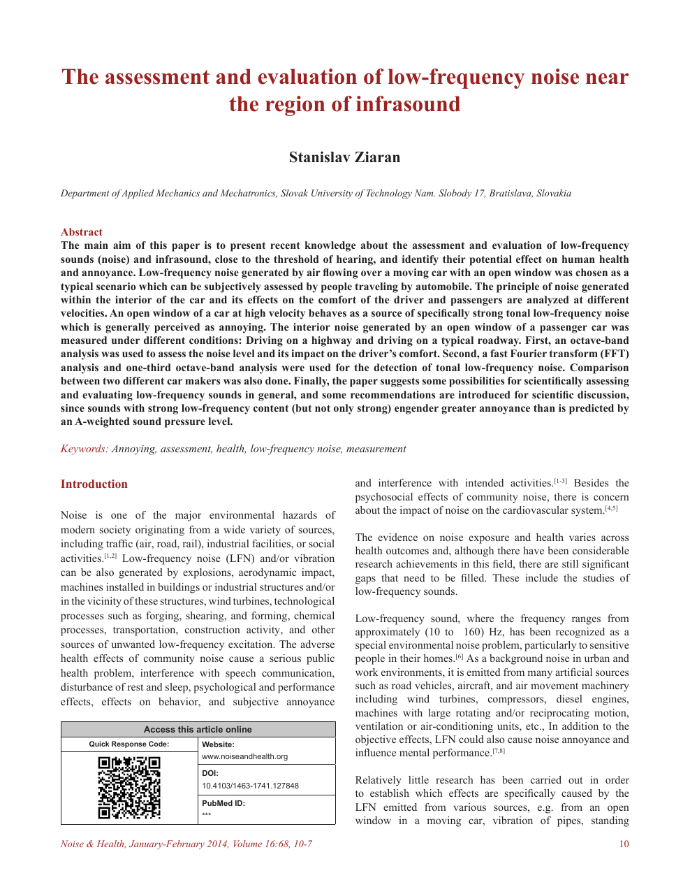 The assessment and evaluation of low-frequency noise near