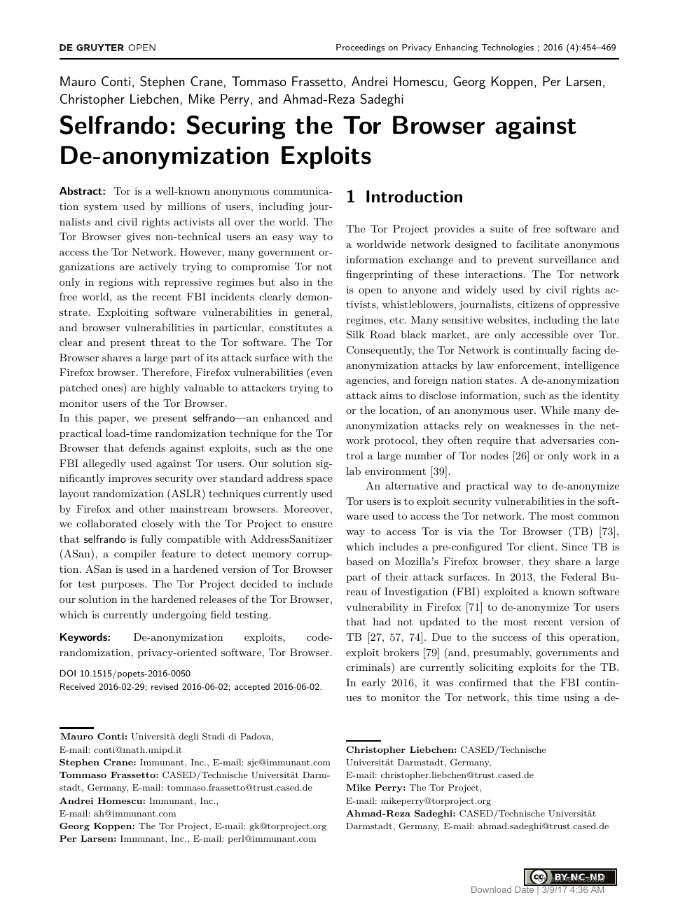 Selfrando: Securing the Tor Browser against De-anonymization