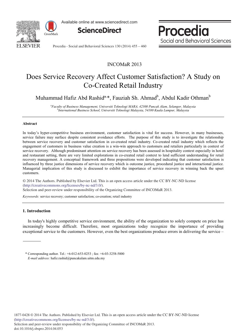 Does Service Recovery Affect Customer Satisfaction? A Study