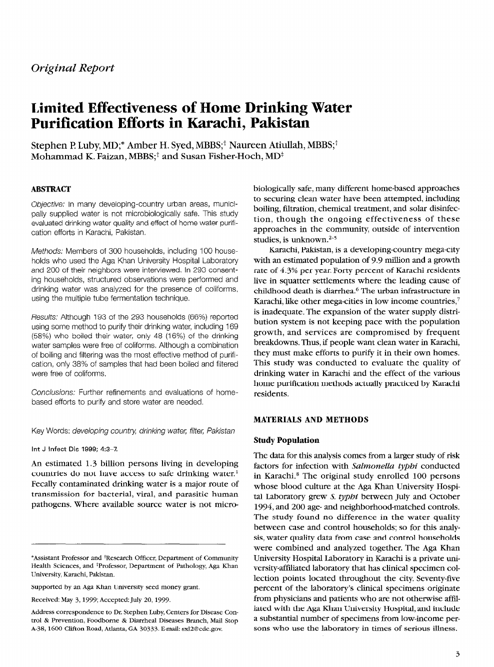 Limited effectiveness of home drinking water purification efforts in