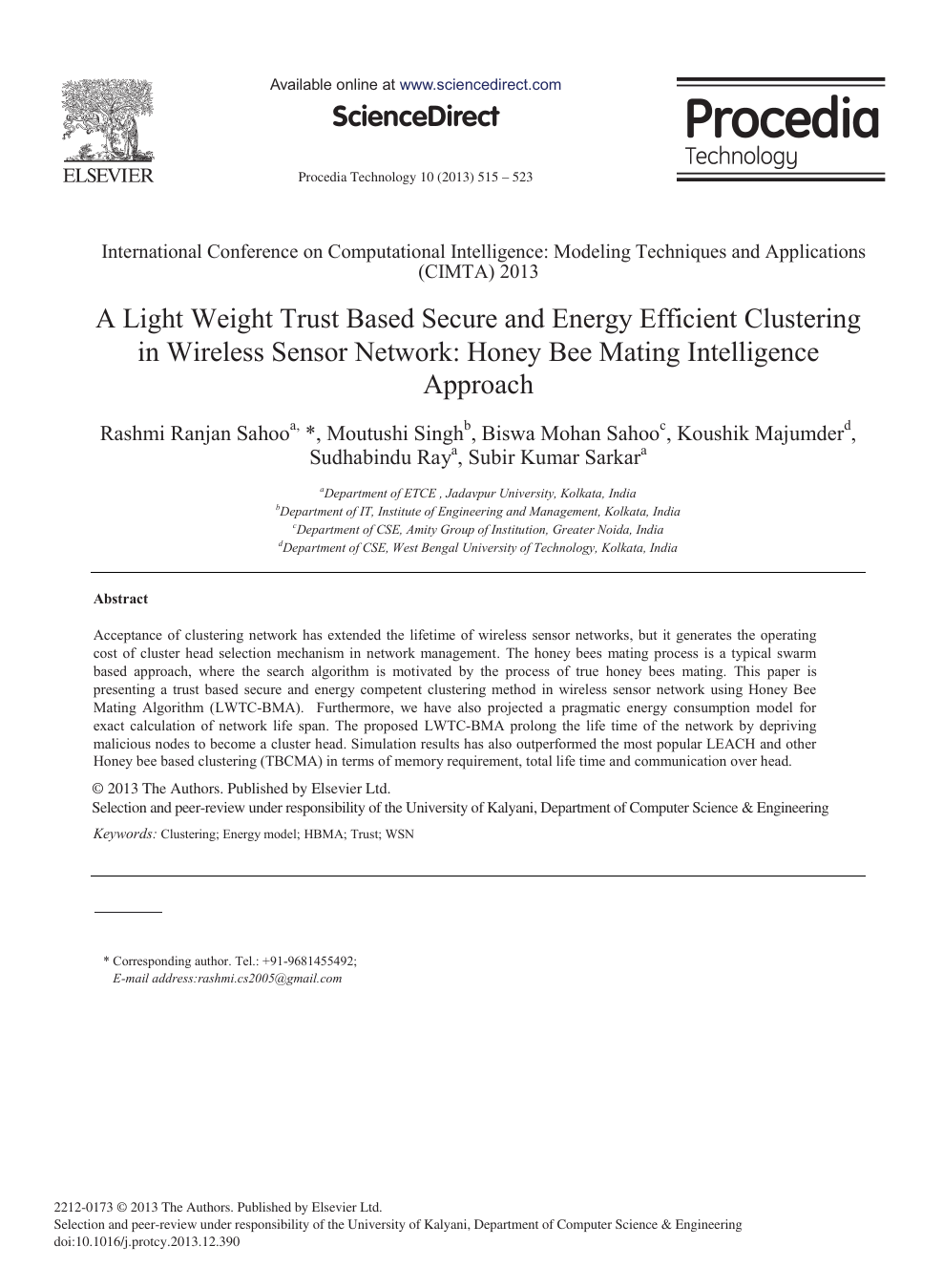 A Light Weight Trust based Secure and Energy Efficient Clustering in