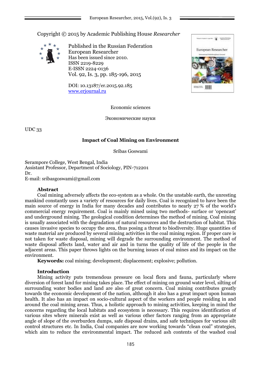 Impact of Coal Mining on Environment – topic of research