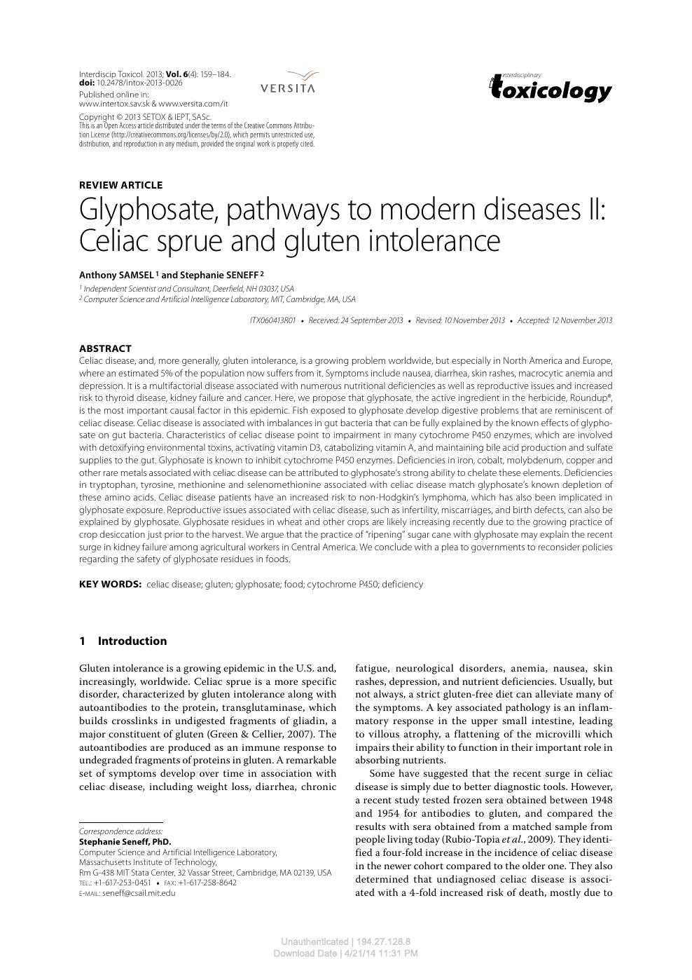 Glyphosate, pathways to modern diseases II: Celiac sprue and