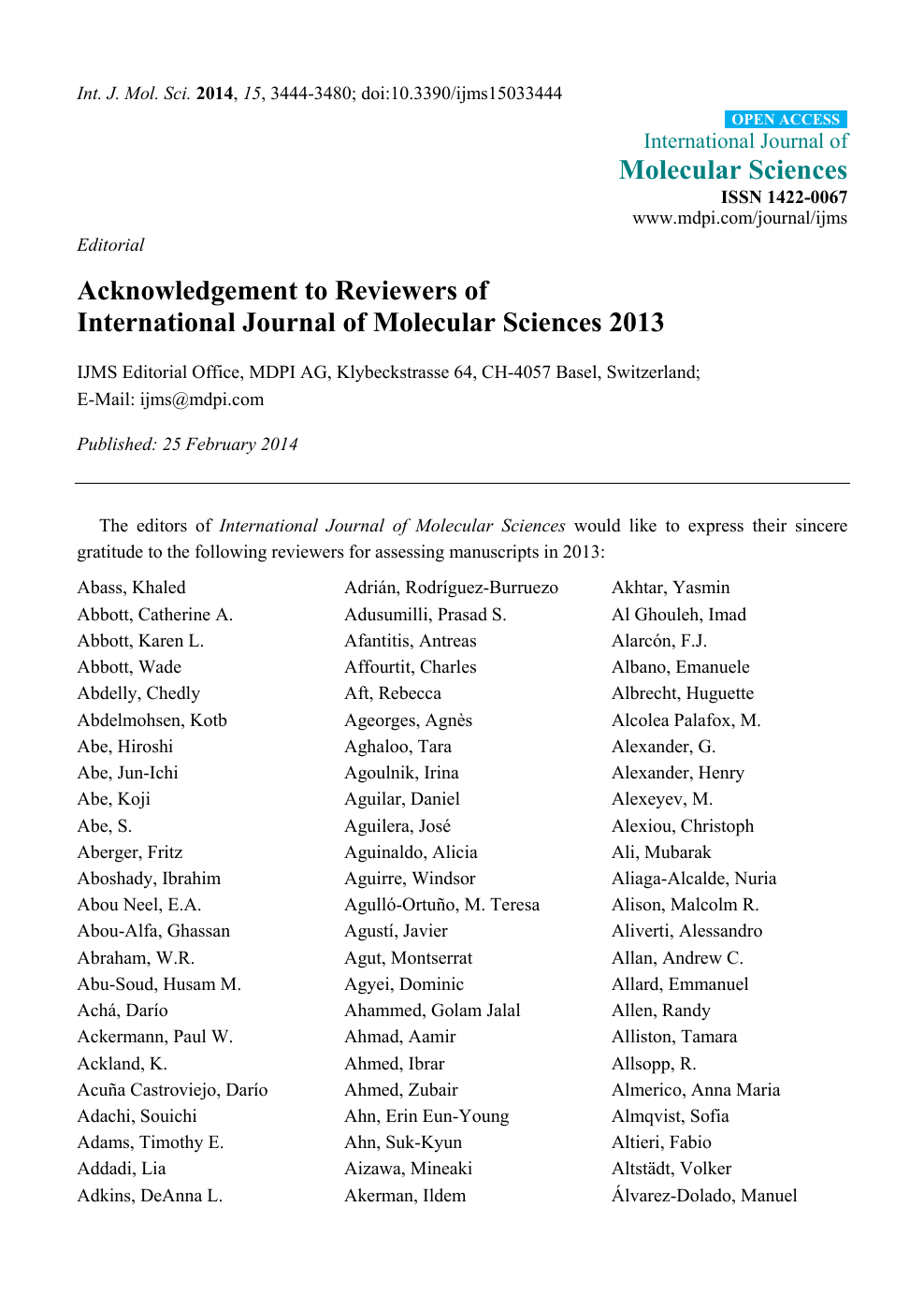 2ba329fe70 Acknowledgement to Reviewers of International Journal of Molecular ...
