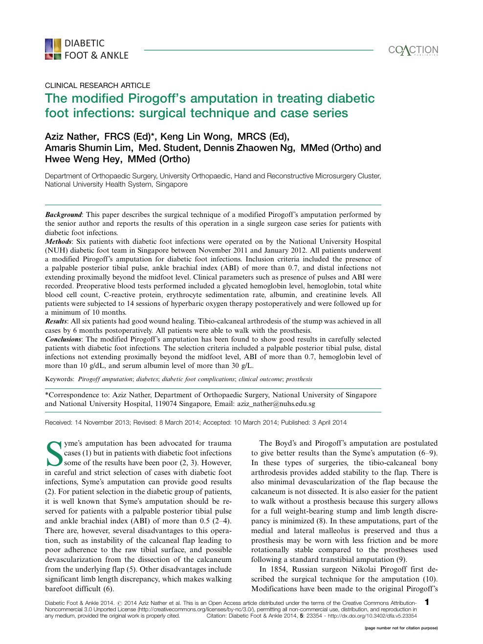 The modified Pirogoff's amputation in treating diabetic foot