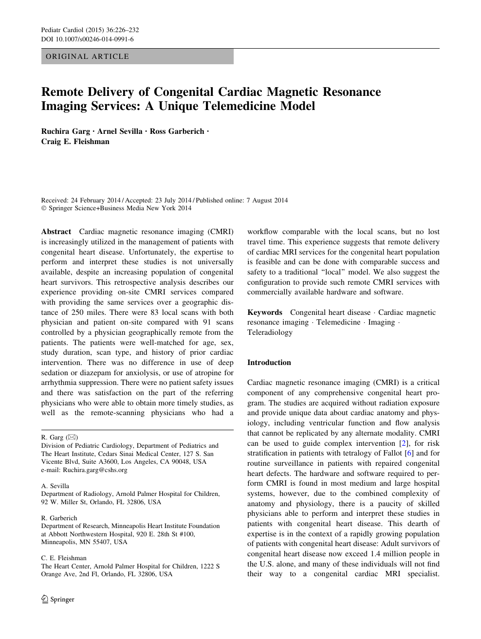 Remote Delivery of Congenital Cardiac Magnetic Resonance Imaging