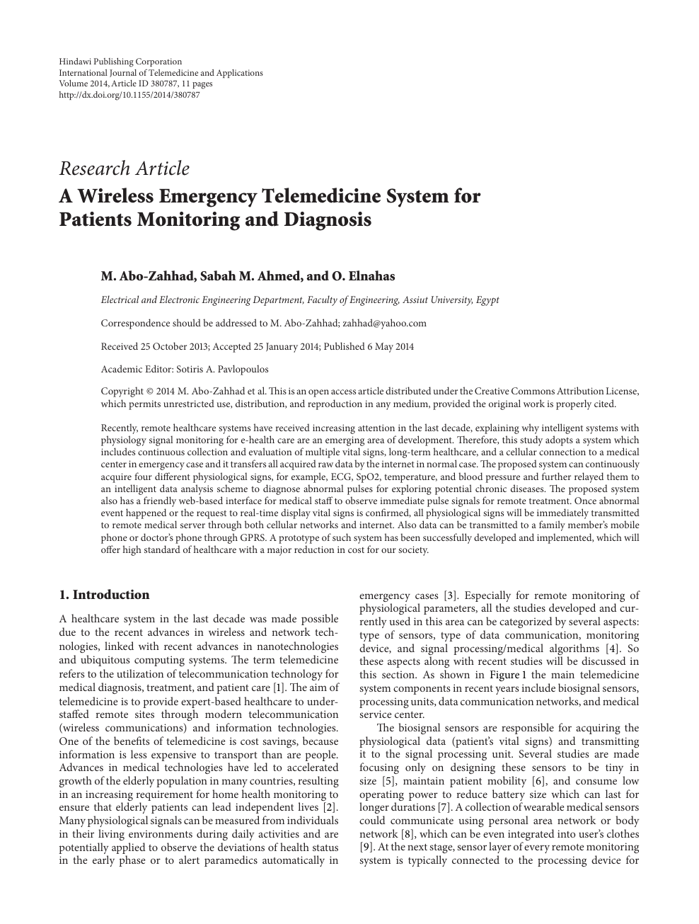 A Wireless Emergency Telemedicine System For Patients Monitoring And Diagnosis Topic Of Research Paper In Medical Engineering Download Scholarly Article Pdf And Read For Free On Cyberleninka Open Science Hub