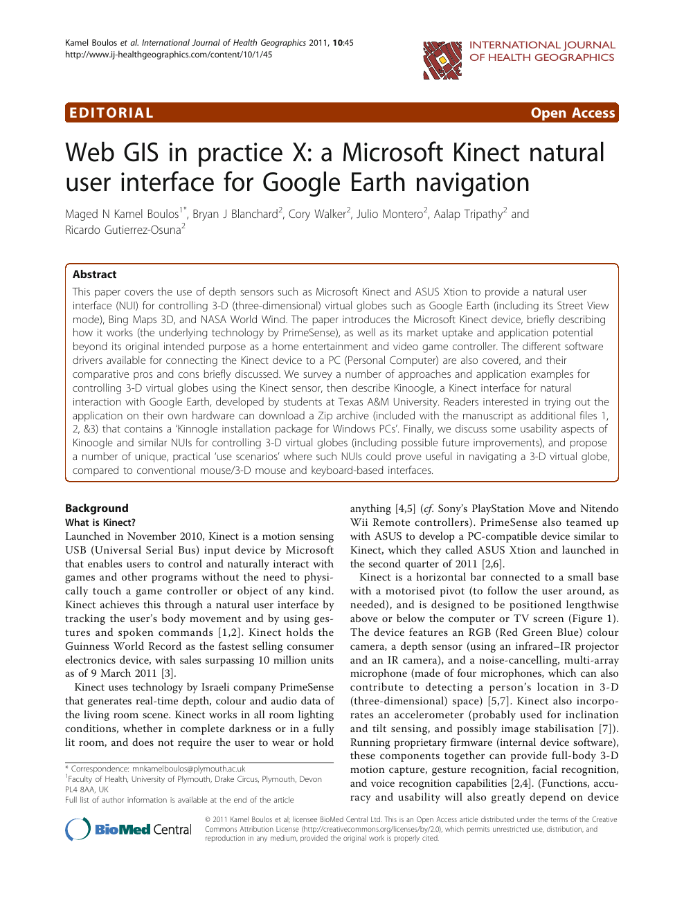 Web GIS in practice X: a Microsoft Kinect natural user