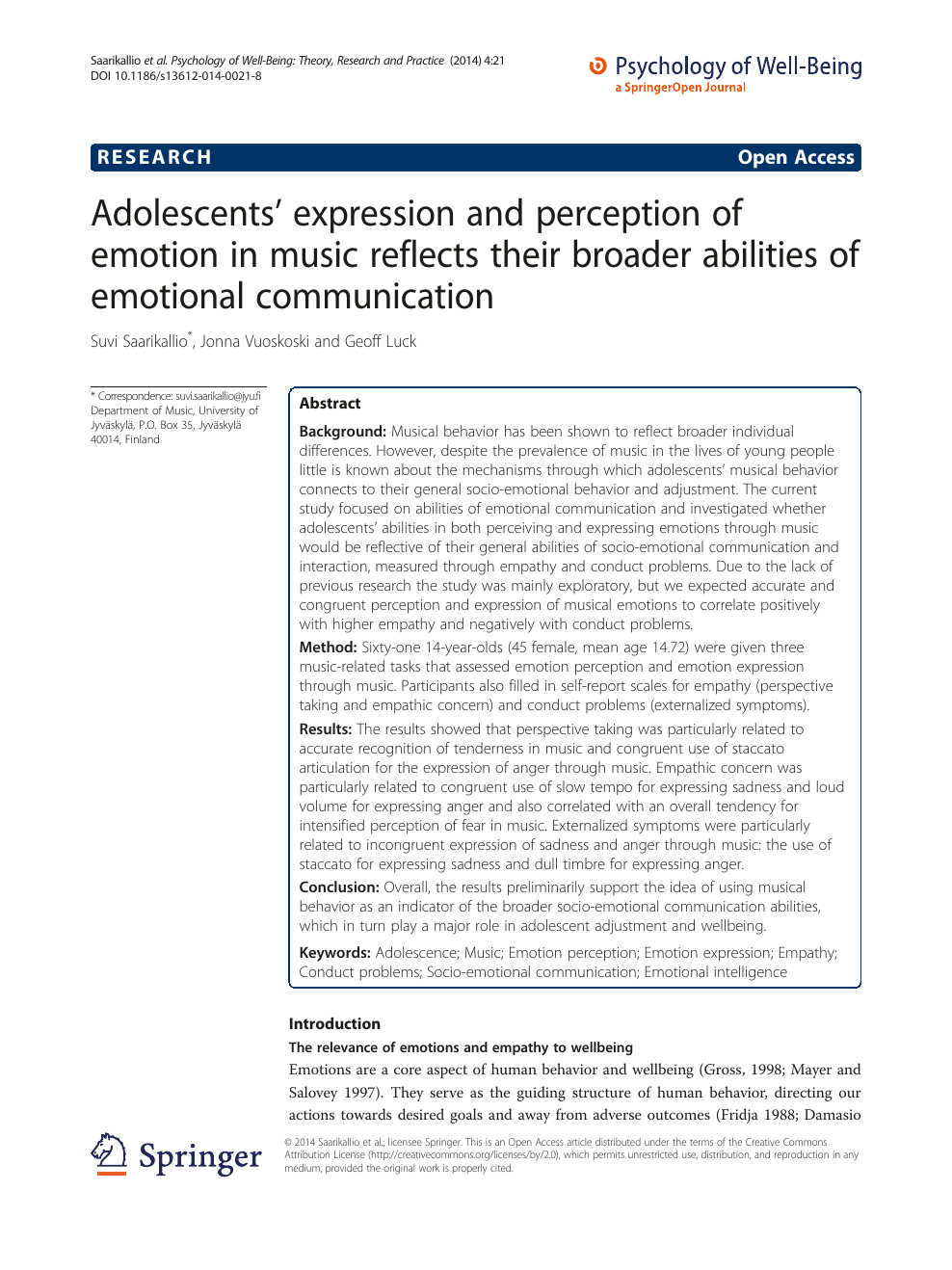 Adolescents' expression and perception of emotion in music reflects