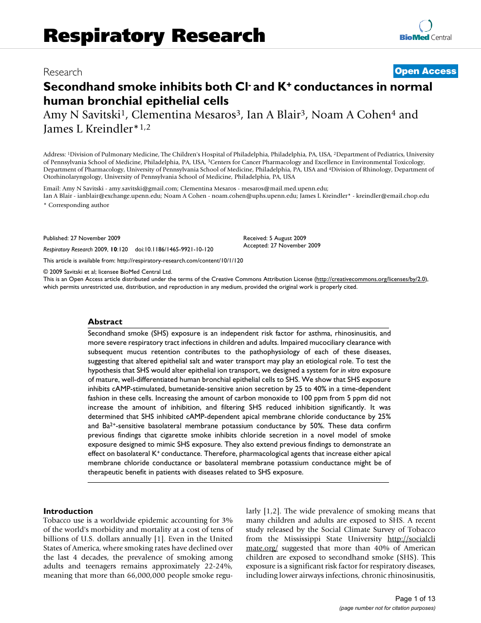 Secondhand smoke inhibits both Cl- and K+ conductances in normal