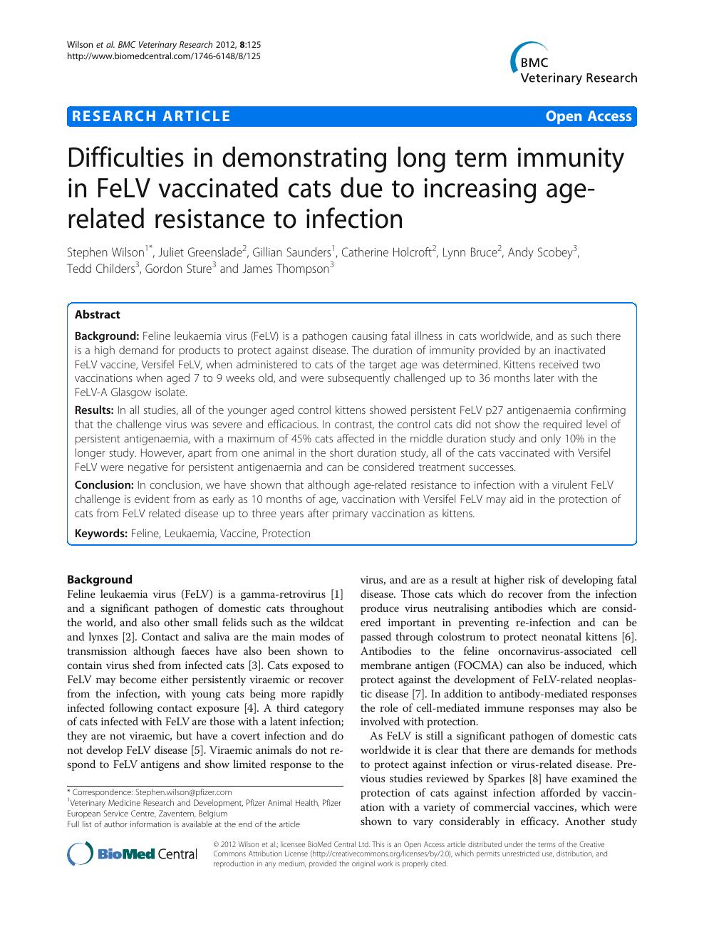 Difficulties in demonstrating long term immunity in FeLV