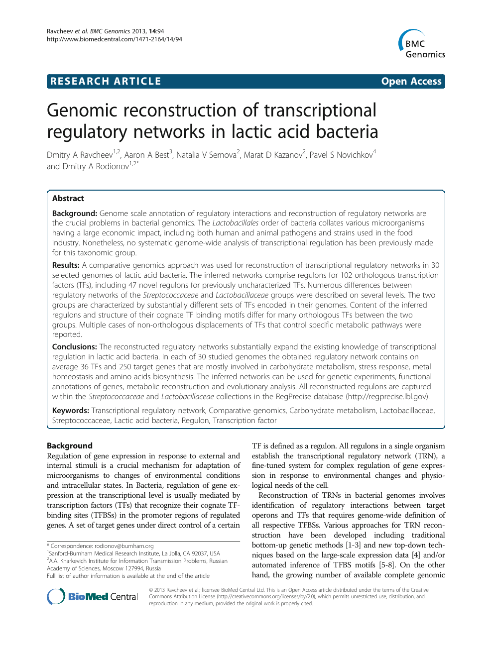 Genomic reconstruction of transcriptional regulatory