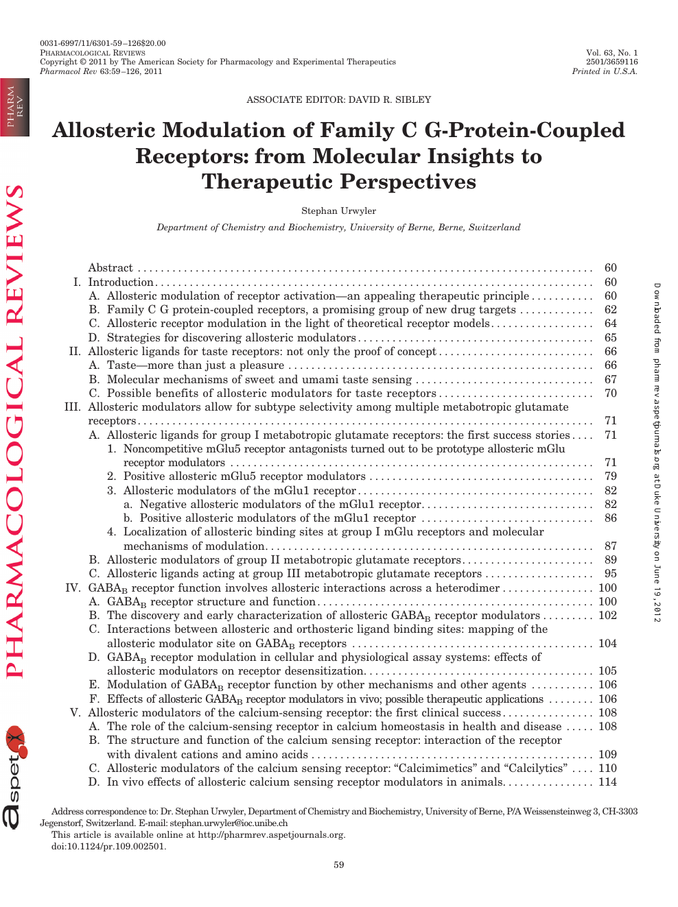 Allosteric Modulation of Family C G-Protein-Coupled Receptors: from