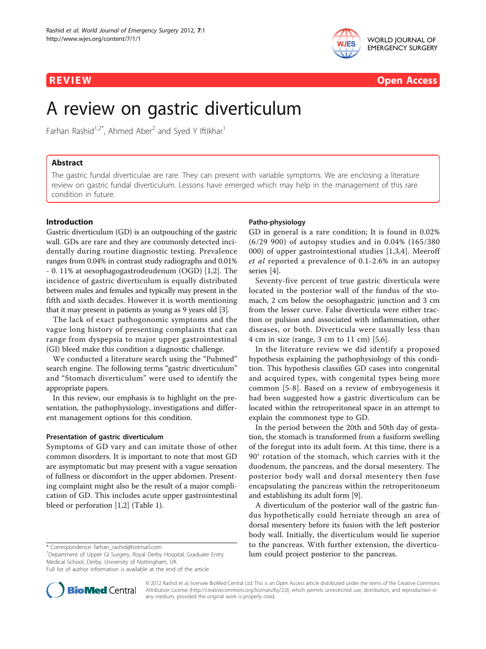 A review on gastric diverticulum – topic of research paper in