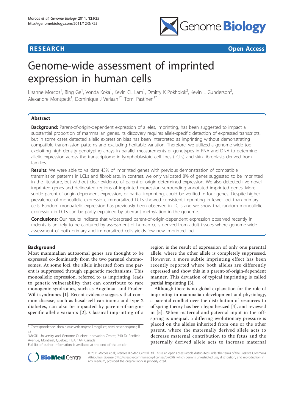Genome-wide assessment of imprinted expression in human