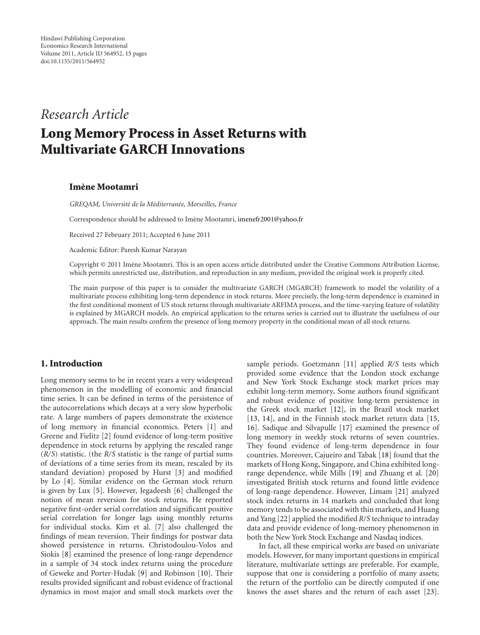 Long Memory Process in Asset Returns with Multivariate GARCH