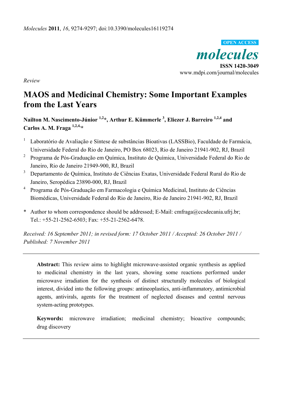MAOS and Medicinal Chemistry: Some Important Examples from