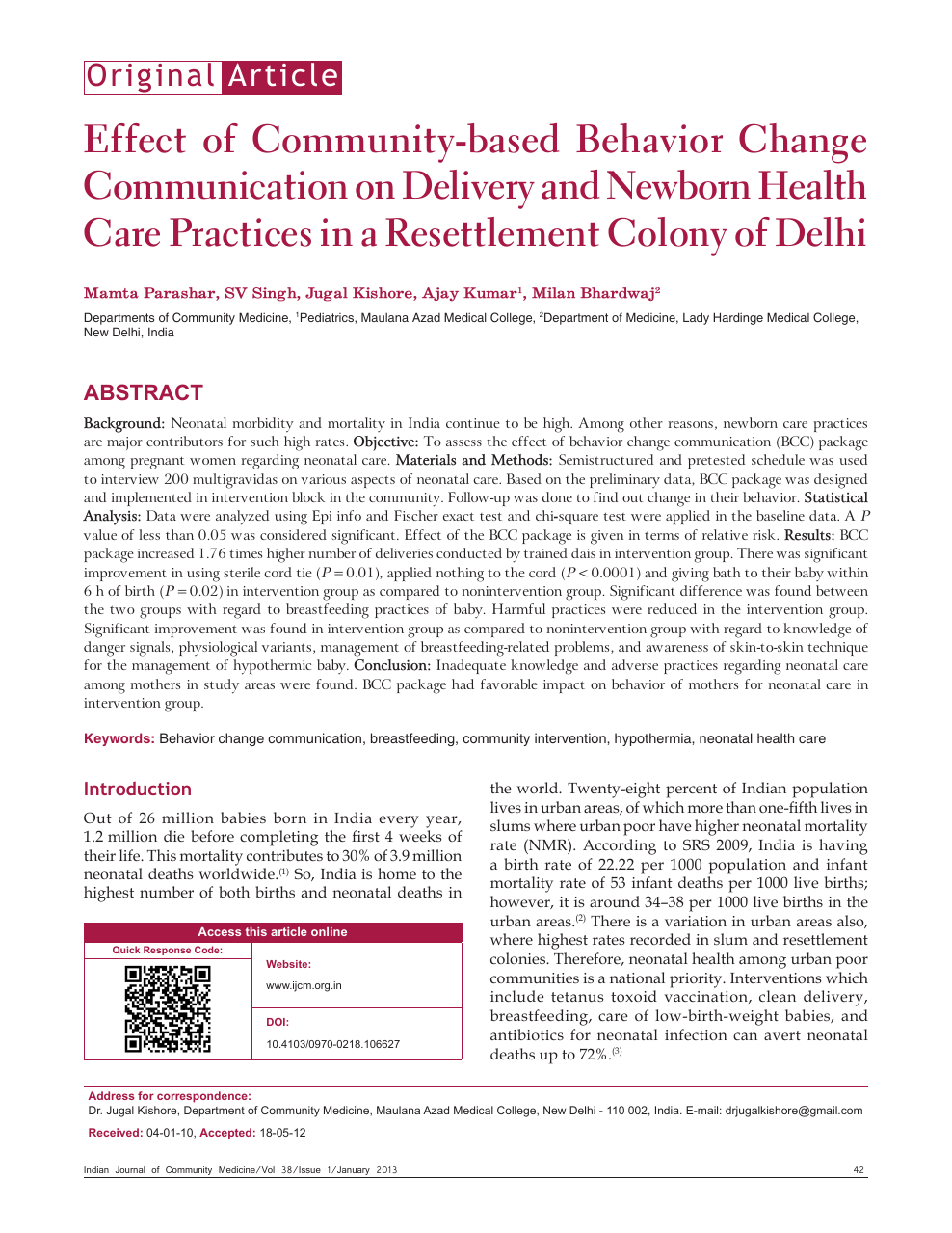 Effect of community-based behavior change communication on