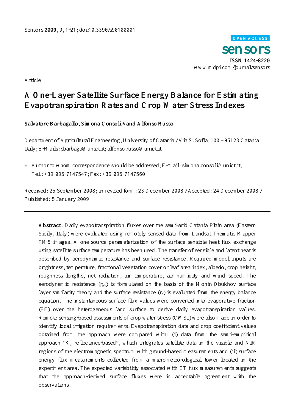 A One Layer Satellite Surface Energy Balance For Estimating Evapotranspiration Rates And Crop Water Stress Indexes Topic Of Research Paper In Earth And Related Environmental Sciences Download Scholarly Article Pdf And Read