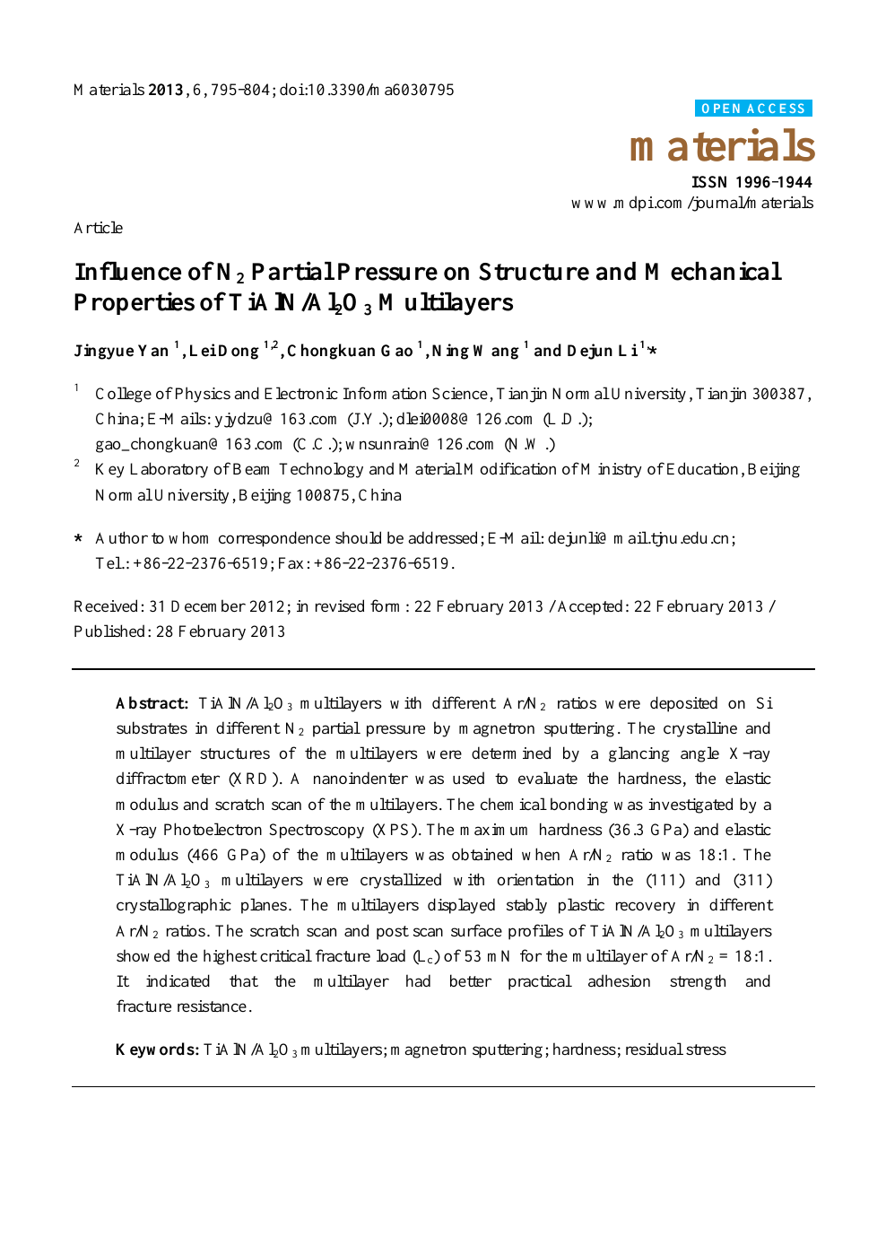 Influence of N2 Partial Pressure on Structure and Mechanical